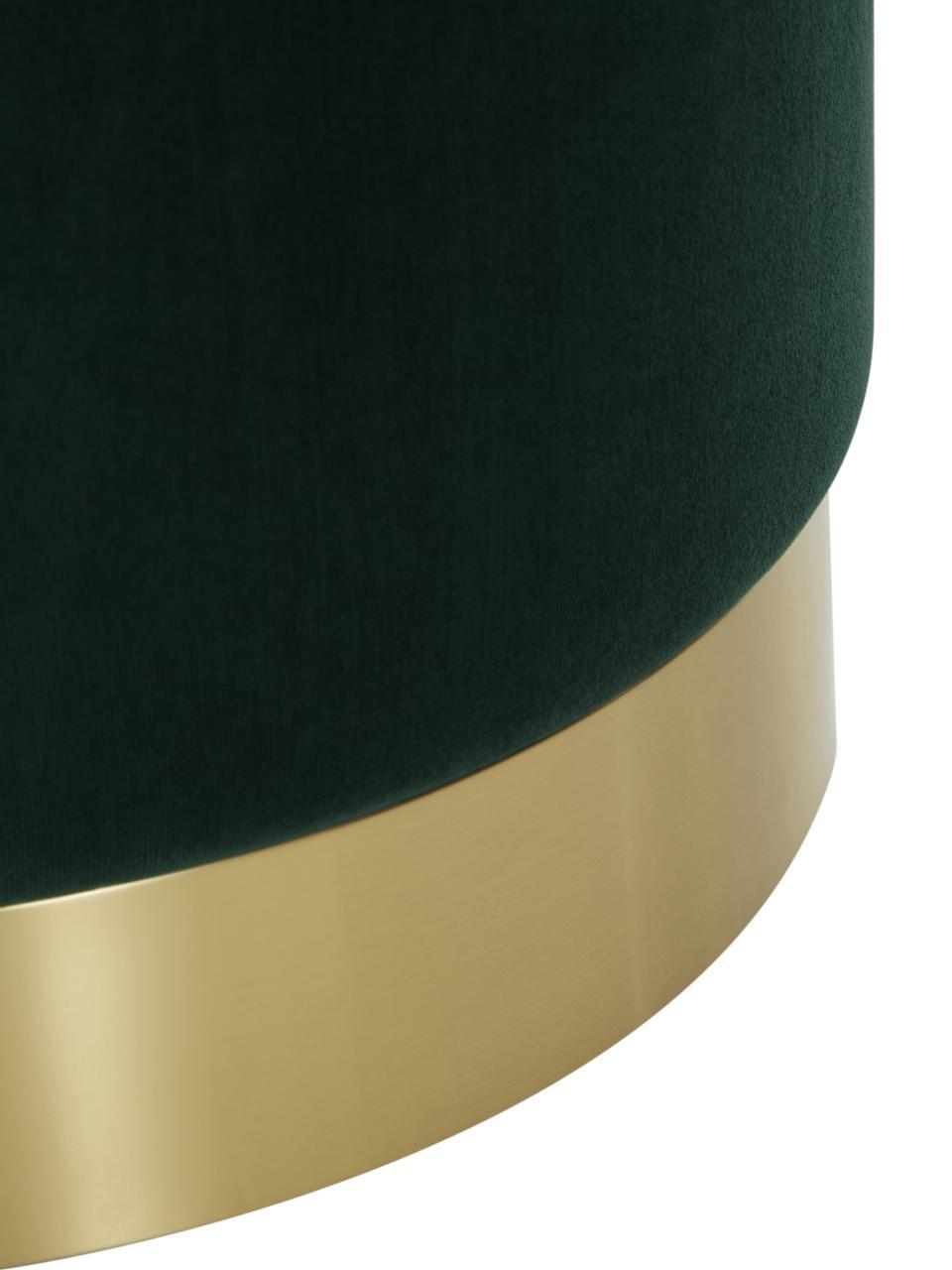 Fluwelen poef Orchid, Bekleding: fluweel (polyester), Frame: multiplex, Voet: gecoat metaal, Bekleding: lichtgroen. Voet: goudkleurig, Ø 40 x H 39 cm