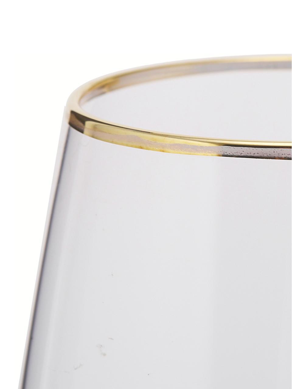 Bicchiere acqua con bordo dorato Chloe 4 pz, Vetro, Trasparente, dorato, Ø 9 x Alt. 12 cm