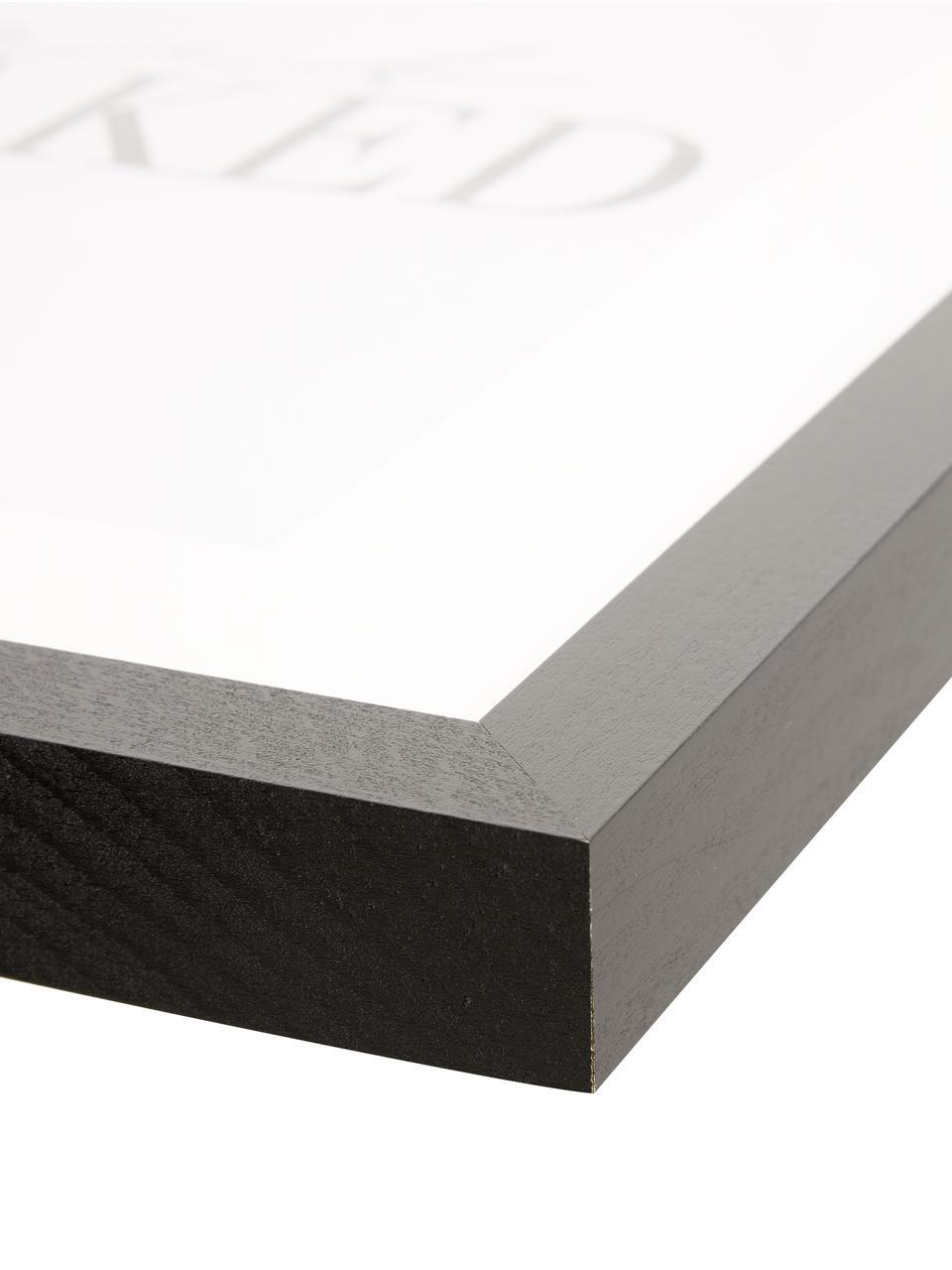 Oprawiony druk cyfrowy Get Naked, Czarny, biały, S 33 x W 43 cm