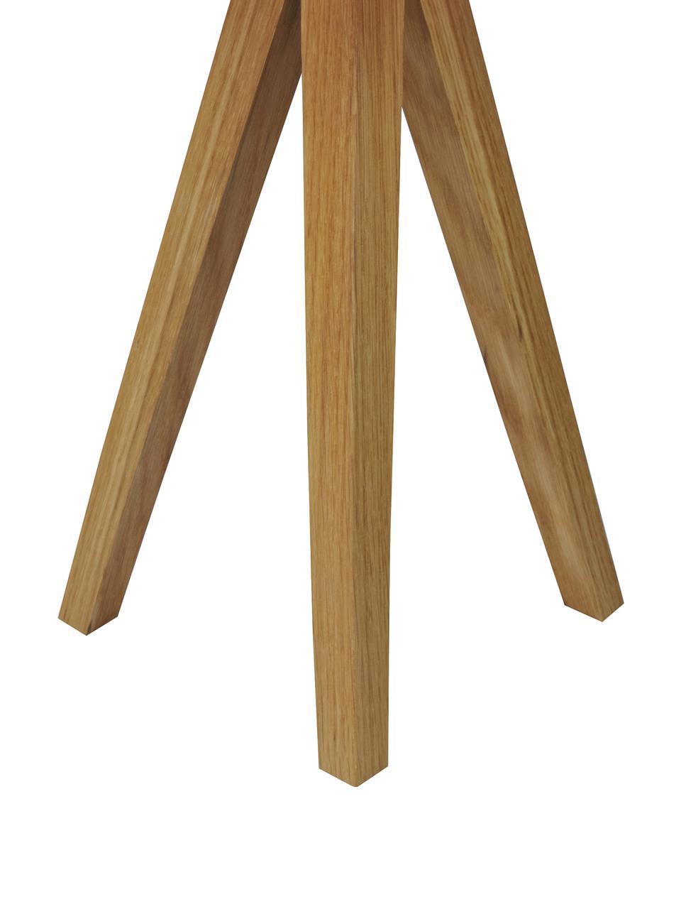 Tischlampe Kullen aus Eichenholz, Lampenfuß: Eichenholz, Lampenschirm: Polyester, Lampenfuß: Eichenholz Lampenschirm: Weiß, Ø 23 x H 44 cm