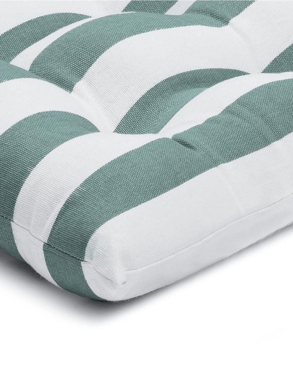 Gestreiftes Sitzkissen Timon in Salbeigrün/Weiß, Bezug: 100% Baumwolle, Grün, 40 x 40 cm