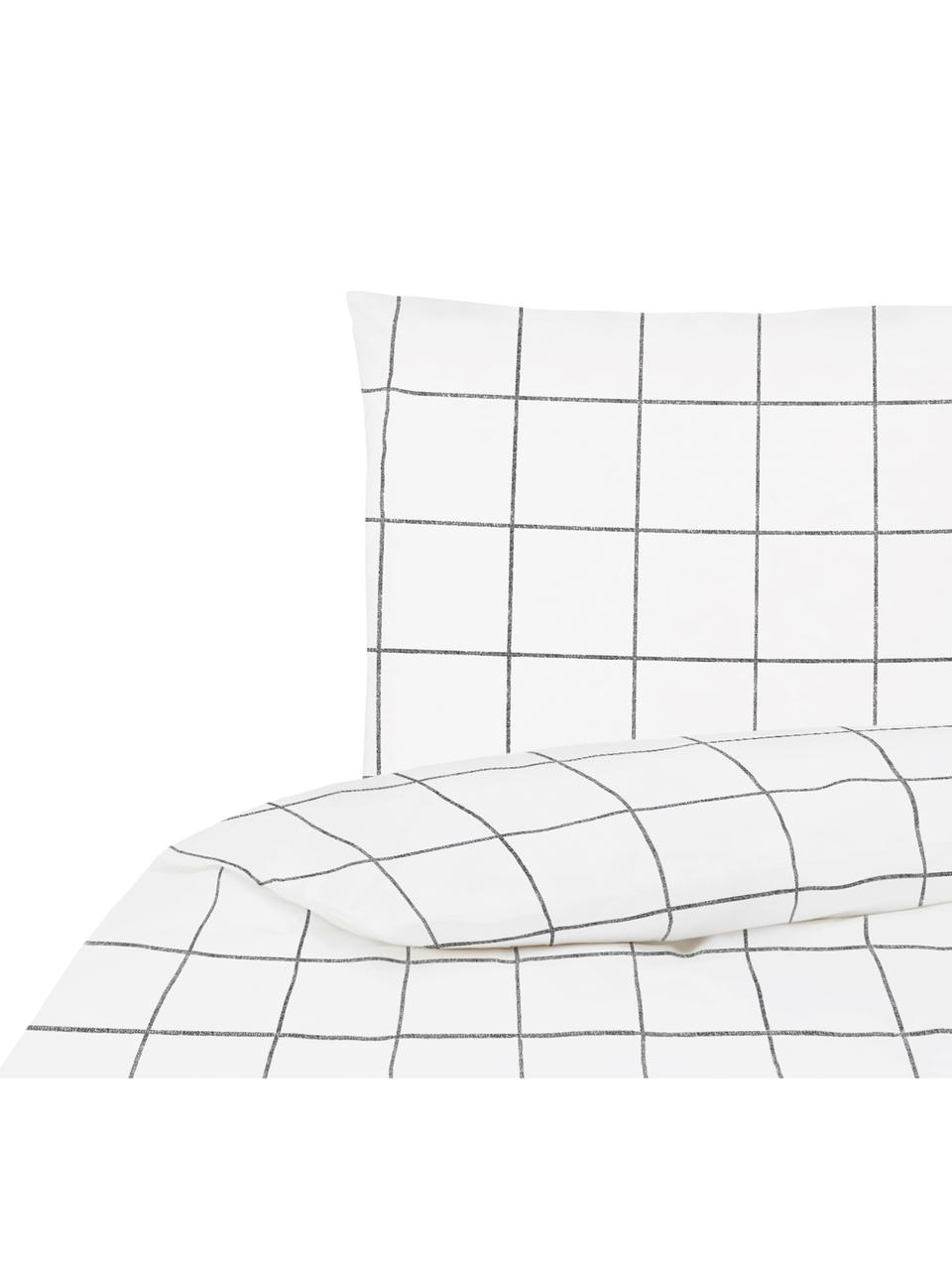 Parure copripiumino in percalle Juna, Tessuto: percalle Densità del filo, Bianco, nero, 155 x 200 cm