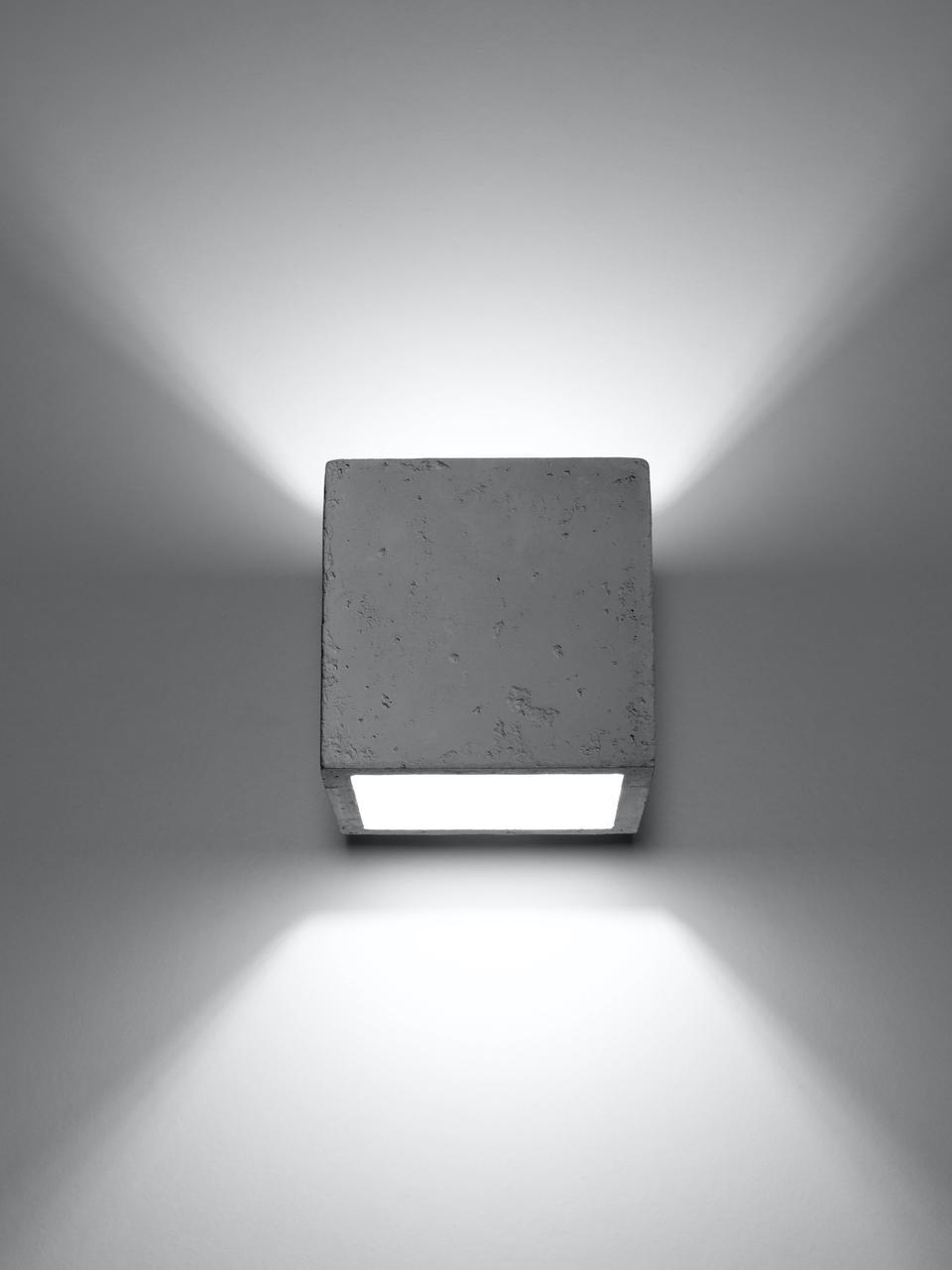 Wandleuchte Quad aus Beton, Beton, Gebrochenes Weiß, 10 x 12 cm