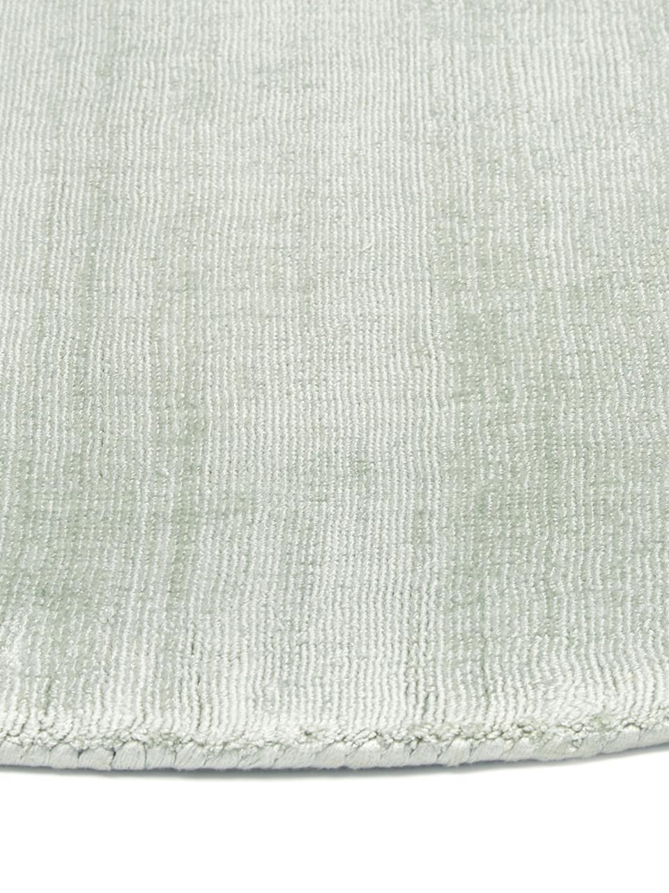 Runder Viskoseteppich Jane in Lindgrün, handgewebt, Flor: 100% Viskose, Lindgrün, Ø 200 cm (Größe L)