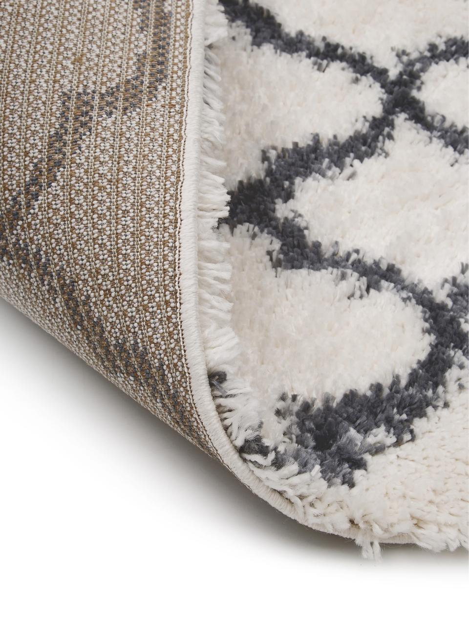 Flauschiger Hochflor-Teppich Mona in Cremeweiß/Dunkelgrau, Flor: 100% Polypropylen, Cremeweiß, Dunkelgrau, B 300 x L 400 cm (Größe XL)