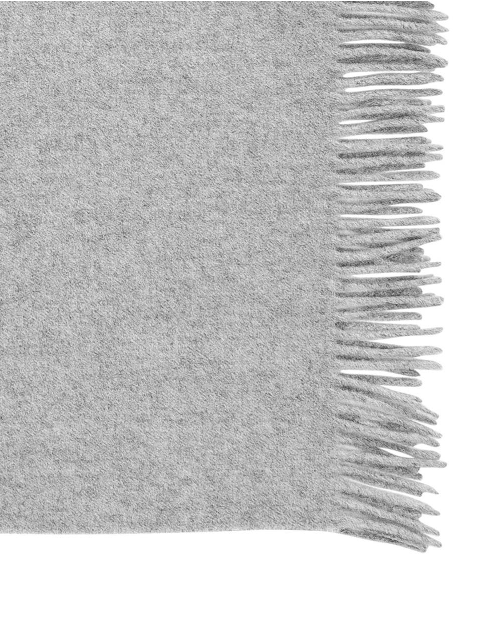 Scheerwollen plaid Lena in grijs, 100% scheerwol met ruw gevoel, Lichtgrijs, 130 x 170 cm