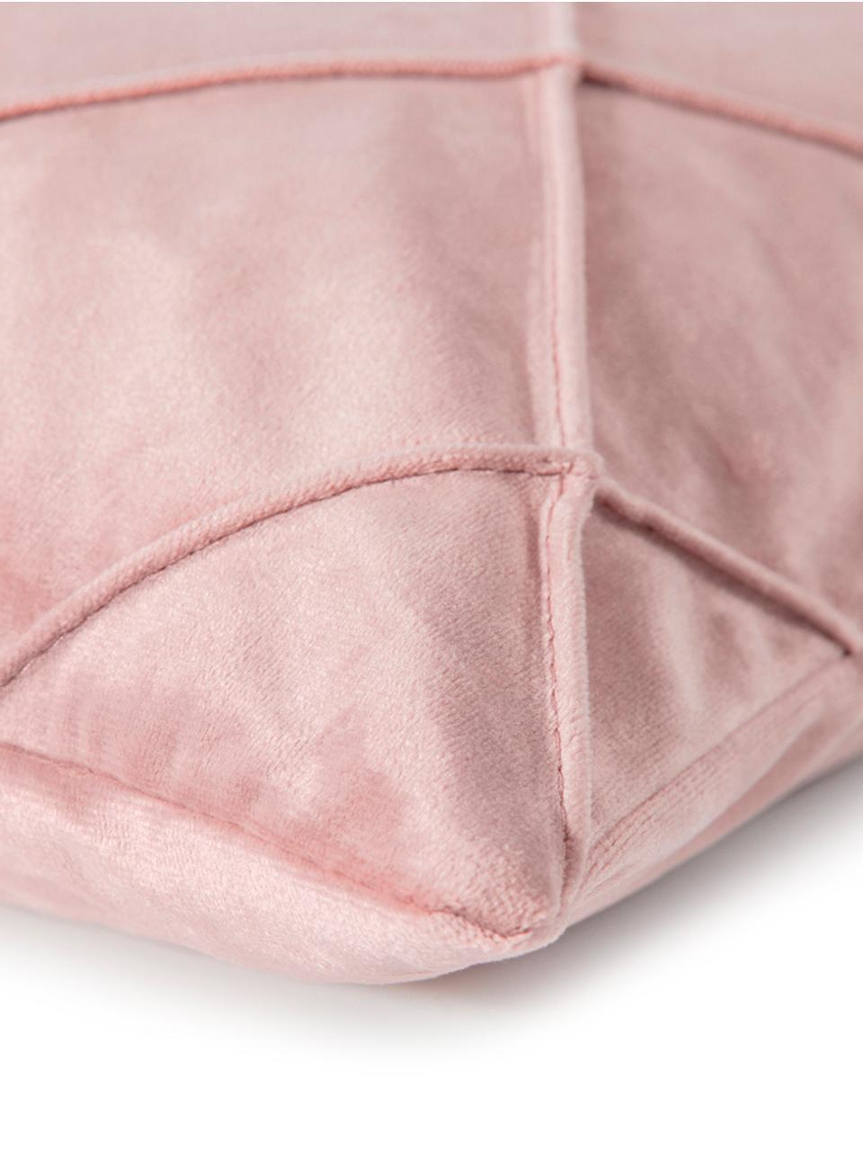 Federa arredo in velluto con motivo a rombi Nobless, 100% velluto di poliestere, Rosa cipria, Larg. 50 x Lung. 50 cm