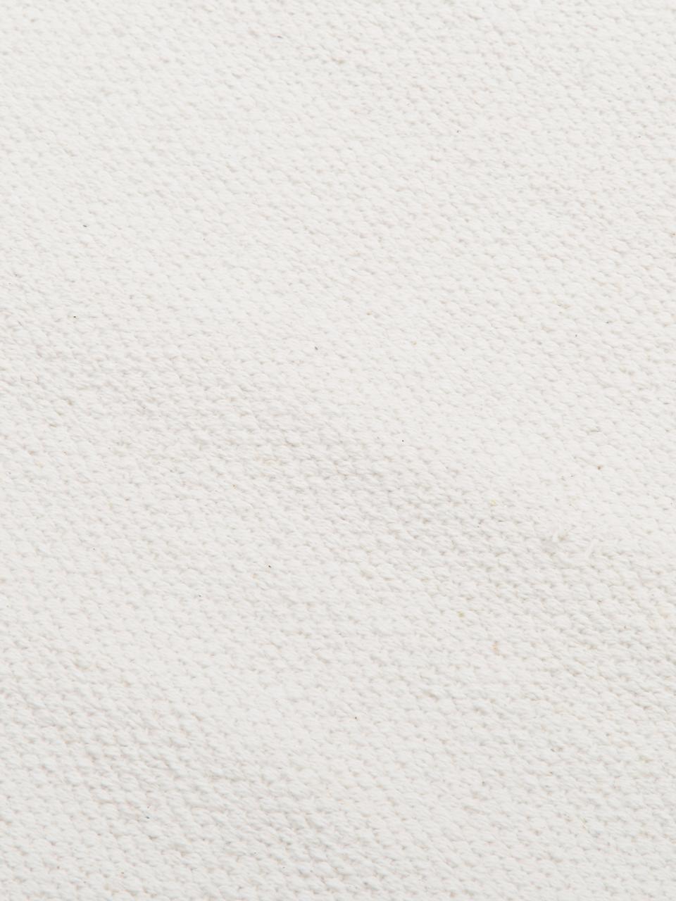 Dun handgeweven katoenen vloerkleed Agneta, Katoen, Crèmewit, B 200 x L 300 cm (maat L)