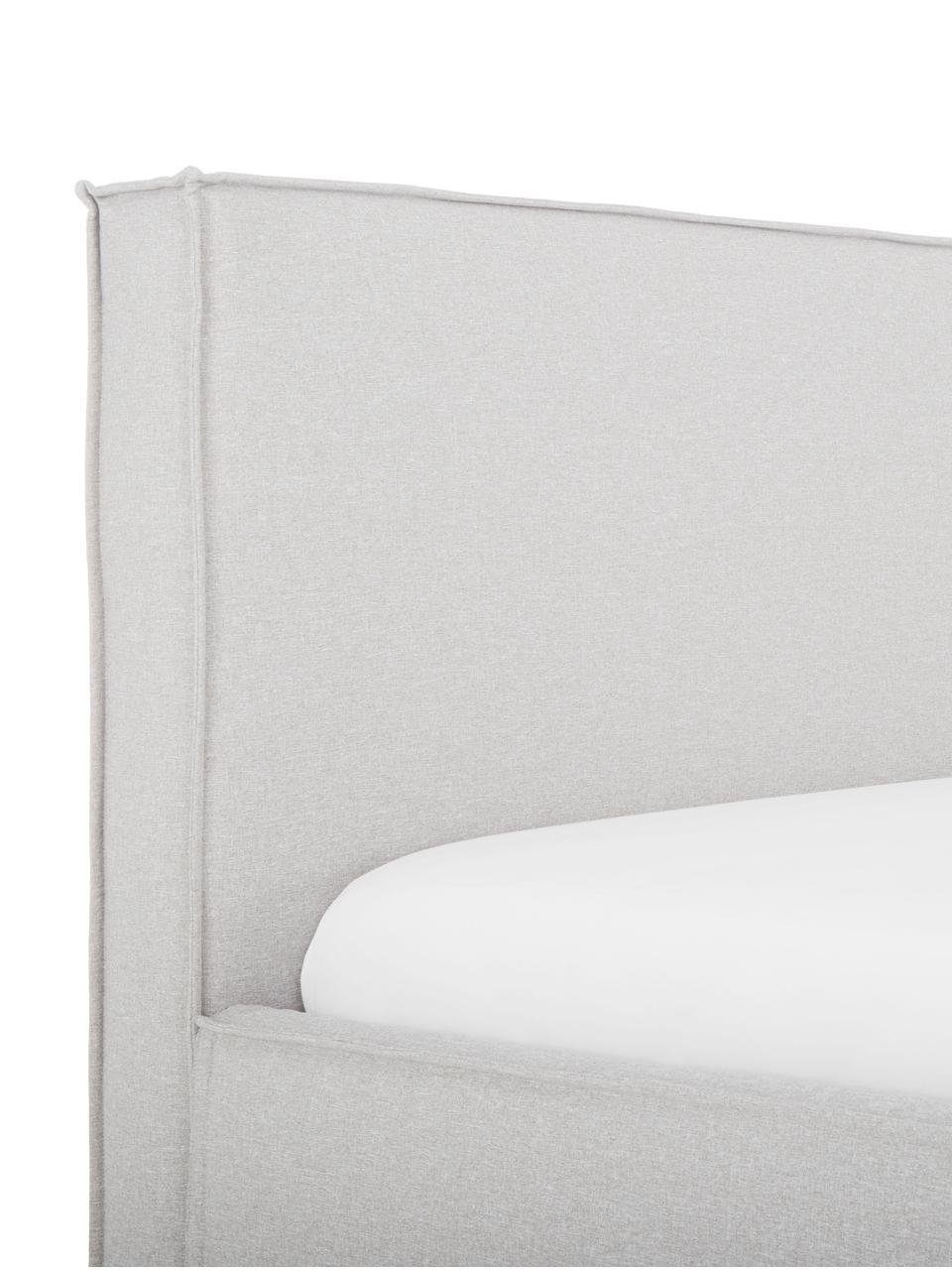 Letto matrimoniale imbottito Dream, Rivestimento: Poliestere (tessuto strut, Grigio chiaro, Larg. 180 x Lung. 200 cm