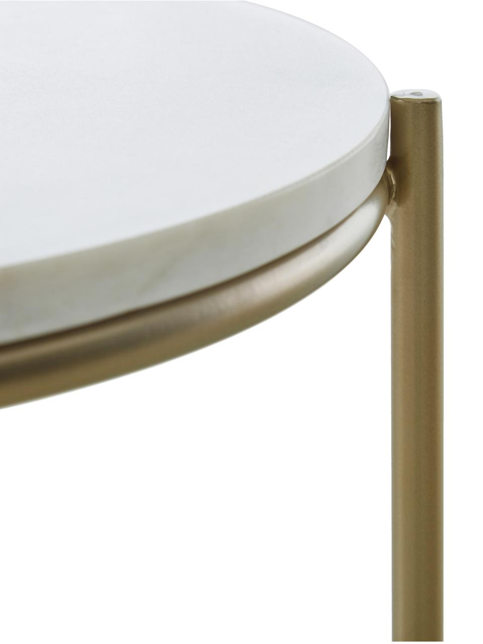 Ronde marmeren bijzettafel Ella, Tafelblad: marmer, Frame: gepoedercoat metaal, Tafelblad: wit marmer. Frame: mat goudkleurig, Ø 40 x H 50 cm