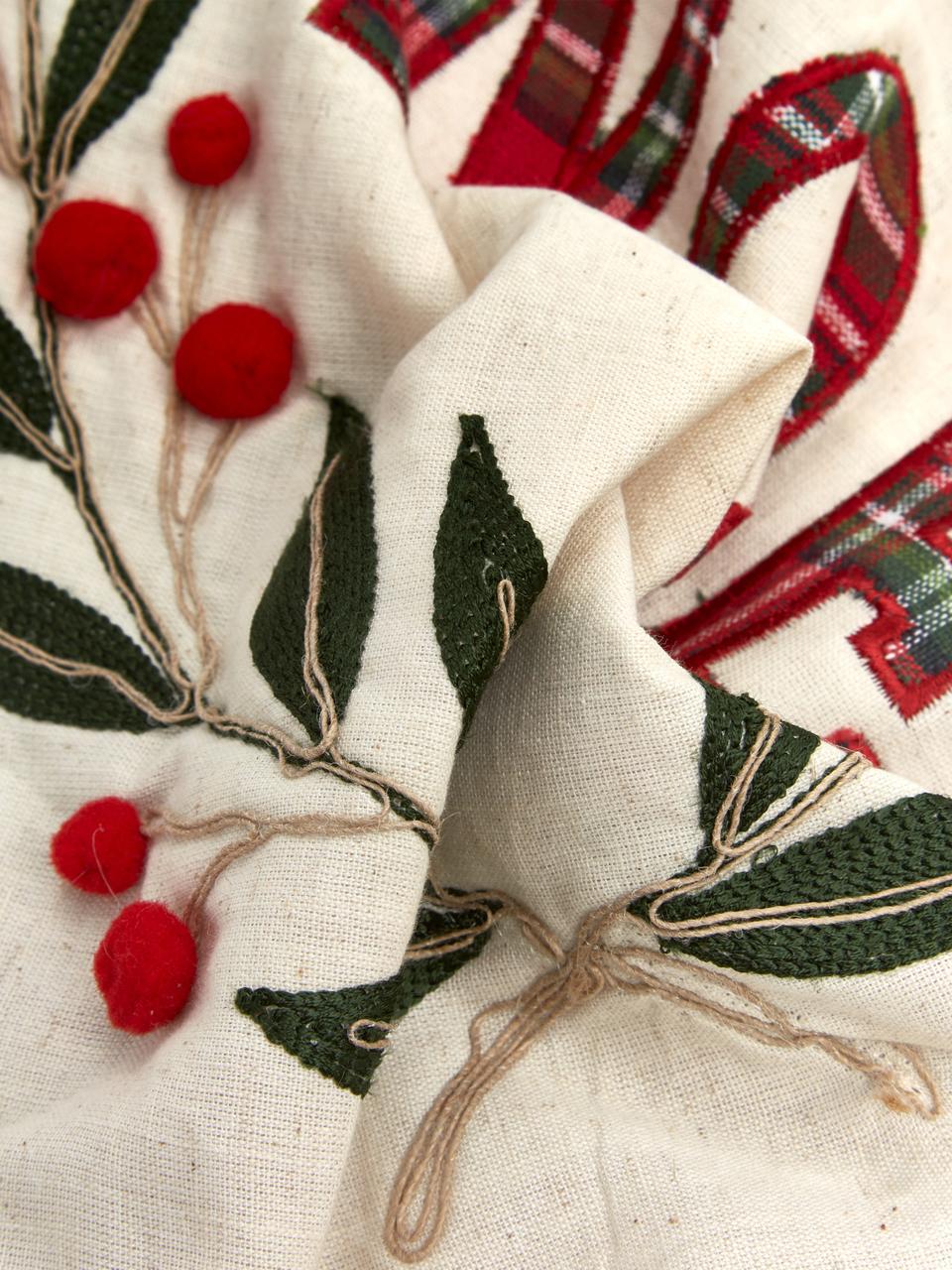 Funda de cojín bordada Noel, caras distintas, 100%algodón, Crema, rojo, verde, An 45 x L 45 cm