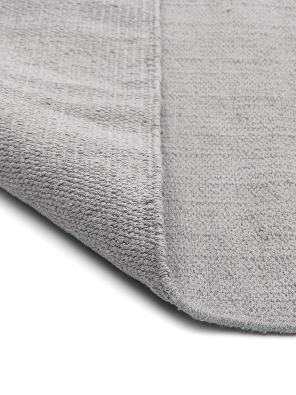 Dünner Baumwollteppich Agneta, handgewebt, 100% Baumwolle, Grau, B 200 x L 300 cm (Größe L)