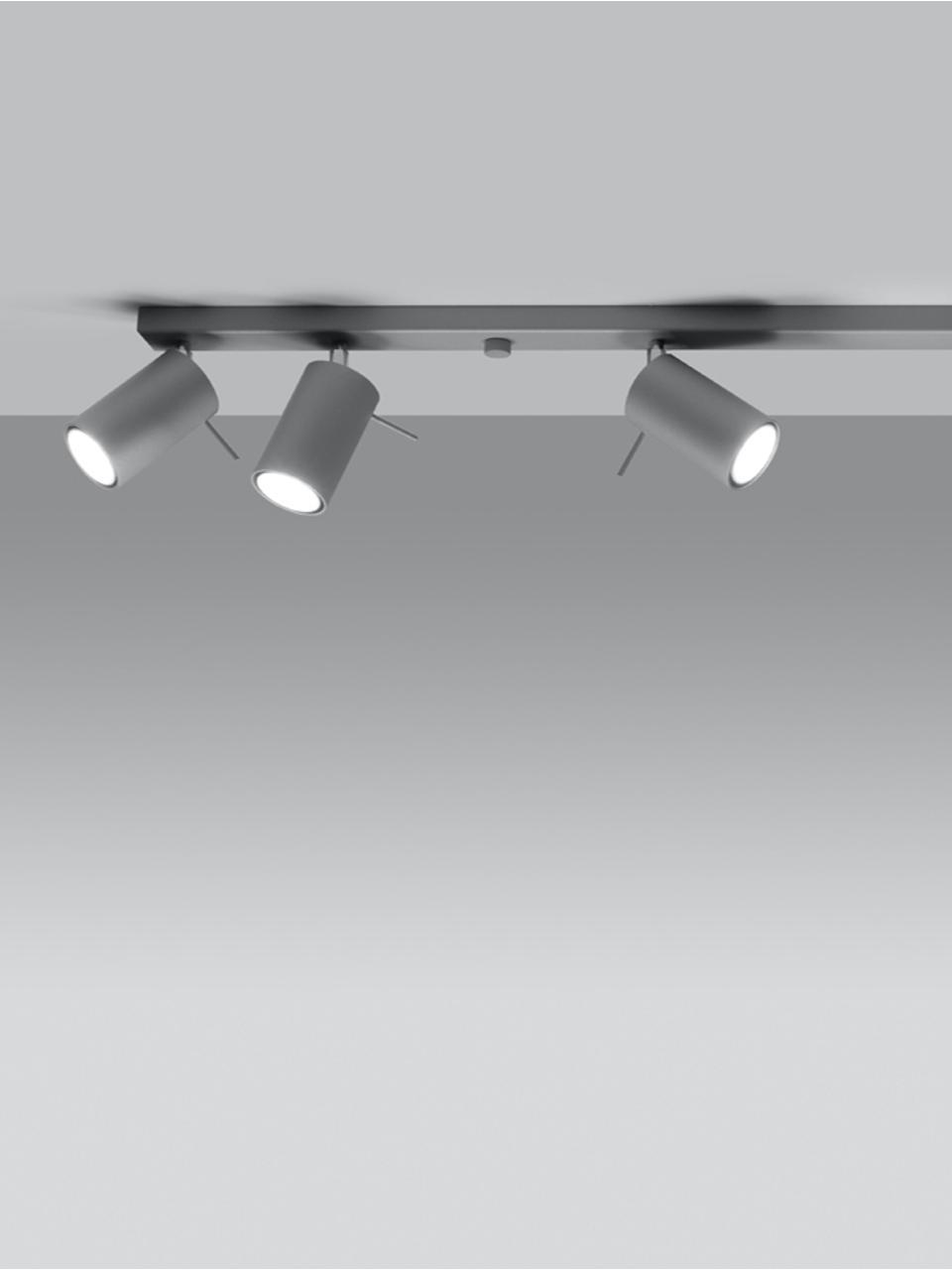 Faretti da soffitto grigi Etna, Paralume: acciaio verniciato, Baldacchino: acciaio verniciato, Grigio, Larg. 120 x Alt. 15 cm