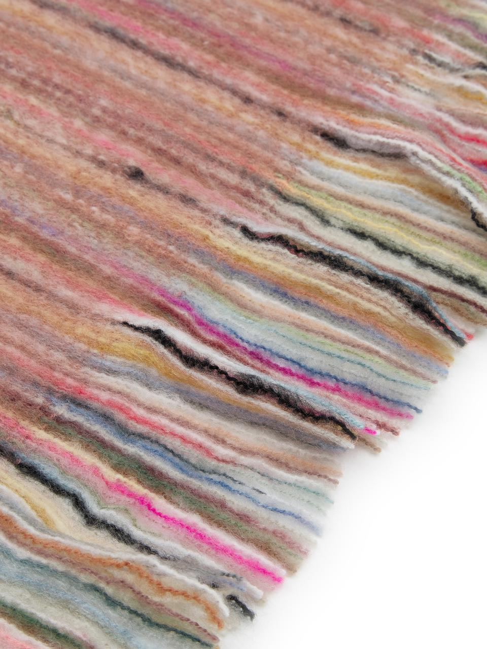 Plaid con frange colorate Ayana, 100% acrilico, Rosa cipria, multicolore, Larg. 130 x Lung. 190 cm