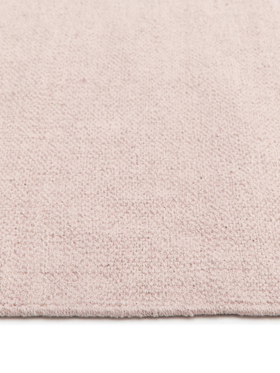Dünner Baumwollteppich Agneta, handgewebt, 100% Baumwolle, Rosa, B 160 x L 230 cm (Größe M)