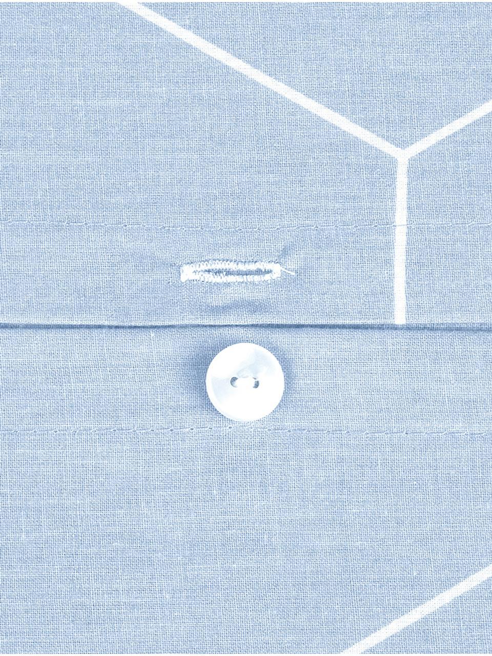 Baumwoll-Kissenbezüge Lynn mit grafischem Muster, 2 Stück, Webart: Renforcé Fadendichte 144 , Hellblau, Cremeweiß, 40 x 80 cm