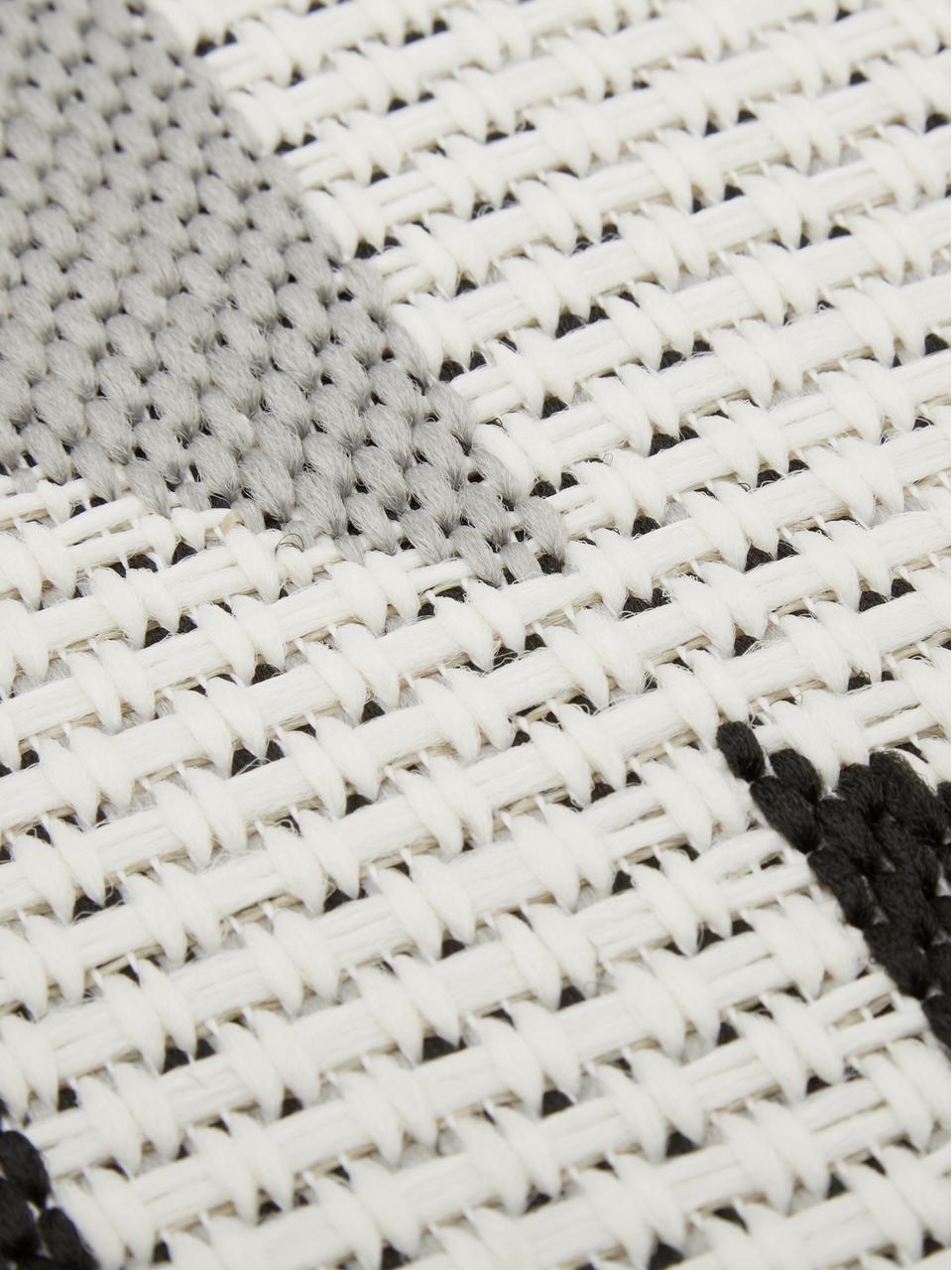 Tappeto etnico da interno-esterno Ikat, 86% polipropilene, 14% poliestere, Bianco crema, nero, grigio, Larg. 200 x Lung. 290 cm  (taglia L)