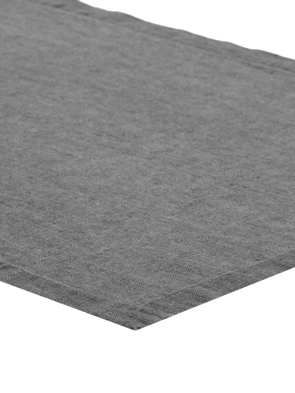 Leinen-Tischläufer Ruta in Grau, Grau, 40 x 140 cm