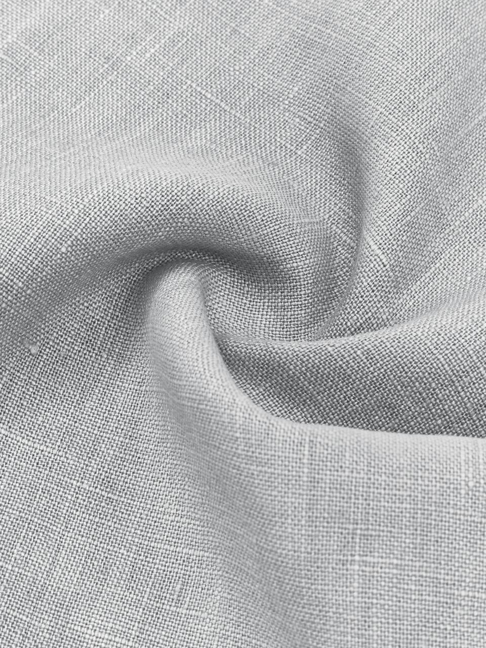 Leinen-Kissenhülle Luana in Hellgrau mit Fransen, 100% Leinen, Hellgrau, 30 x 50 cm