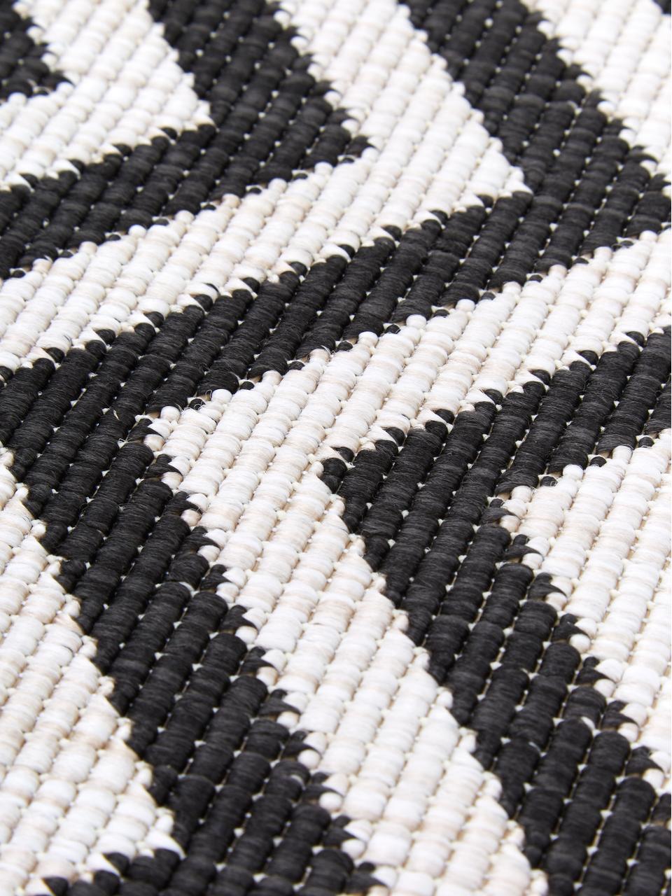 Tapis intérieur extérieur gris crème, réversible Palma, Noir, crème