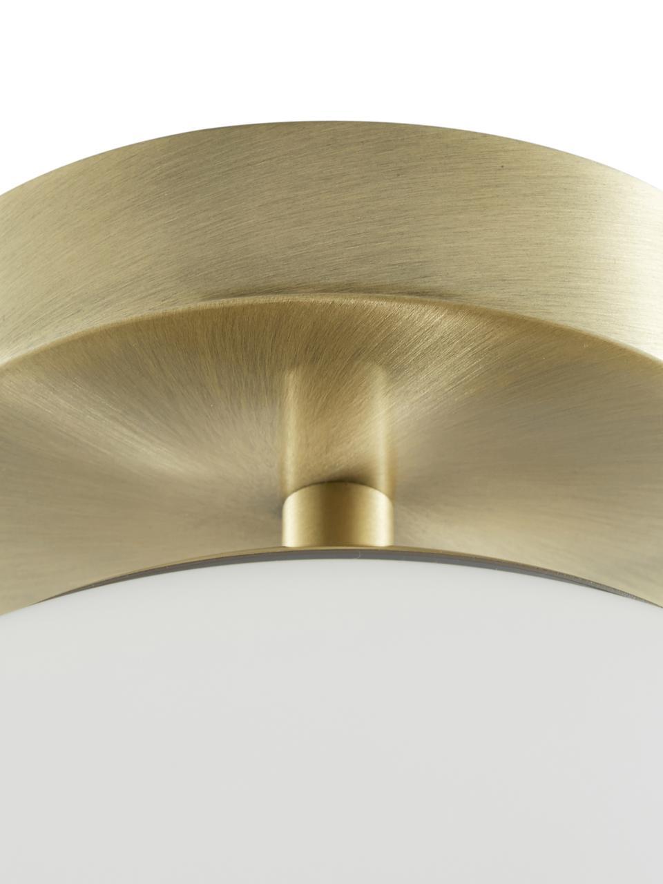 Lampada da soffitto in vetro Hitch, Paralume: vetro, Baldacchino e rilegatura: ottone opaco Paralume: bianco, Ø 25 x Alt. 30 cm
