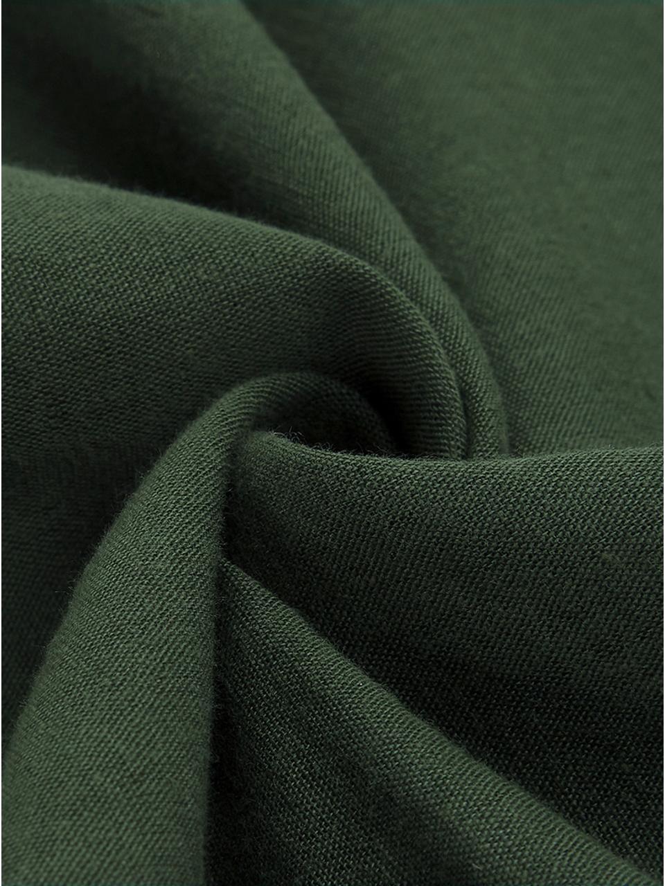 Gewaschene Leinen-Kissenbezüge Nature in Dunkelgrün, 2 Stück, Halbleinen (52% Leinen, 48% Baumwolle)  Fadendichte 108 TC, Standard Qualität  Halbleinen hat von Natur aus einen kernigen Griff und einen natürlichen Knitterlook, der durch den Stonewash-Effekt verstärkt wird. Es absorbiert bis zu 35% Luftfeuchtigkeit, trocknet sehr schnell und wirkt in Sommernächten angenehm kühlend. Die hohe Reißfestigkeit macht Halbleinen scheuerfest und strapazierfähig., Dunkelgrün, 40 x 80 cm