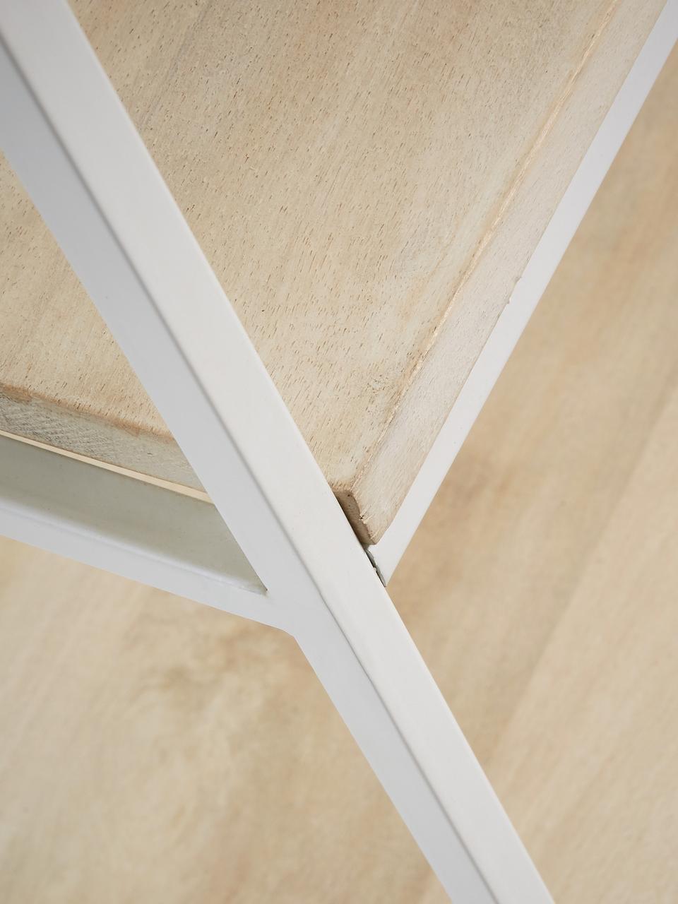 Regał z drewna i metalu Push, Stelaż: metal lakierowany, Biały, brązowy, S 100 x W 180 cm