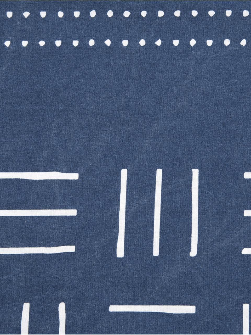 Gewaschene Baumwoll-Bettwäsche Kohana im Boho Style, Webart: Perkal Fadendichte 180 TC, Dunkelblau, Ecru, 240 x 220 cm + 2 Kissen 80 x 80 cm