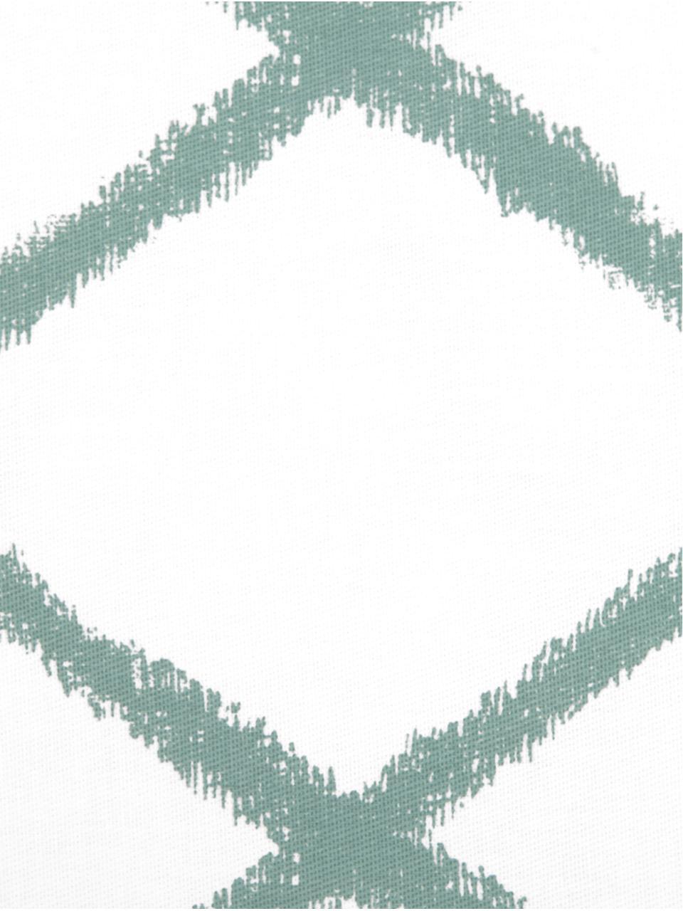 Federa arredo con motivo a rombi Laila, 100% cotone, Bianco, verde salvia, Larg. 45 x Lung. 45 cm