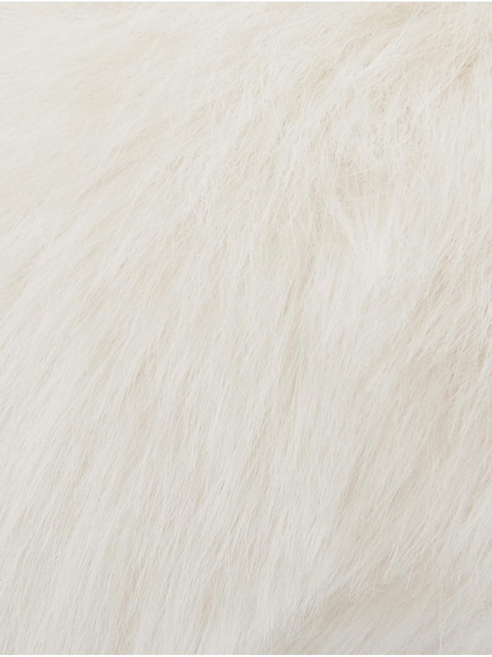 Flauschige Kunstfell-Kissenhülle Mathilde in Creme, glatt, Vorderseite: 67% Akryl, 33% Polyester, Rückseite: 100% Polyester, Creme, 30 x 50 cm