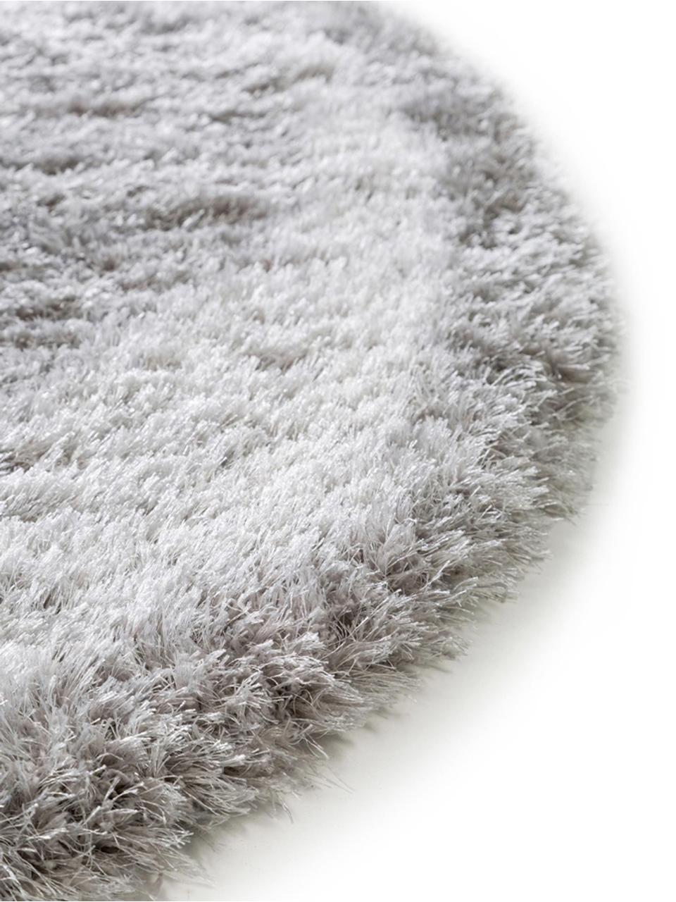 Glänzender Hochflor-Teppich Lea in Hellgrau, rund, Flor: 50% Polyester, 50% Polypr, Grau, Ø 200 cm (Größe L)