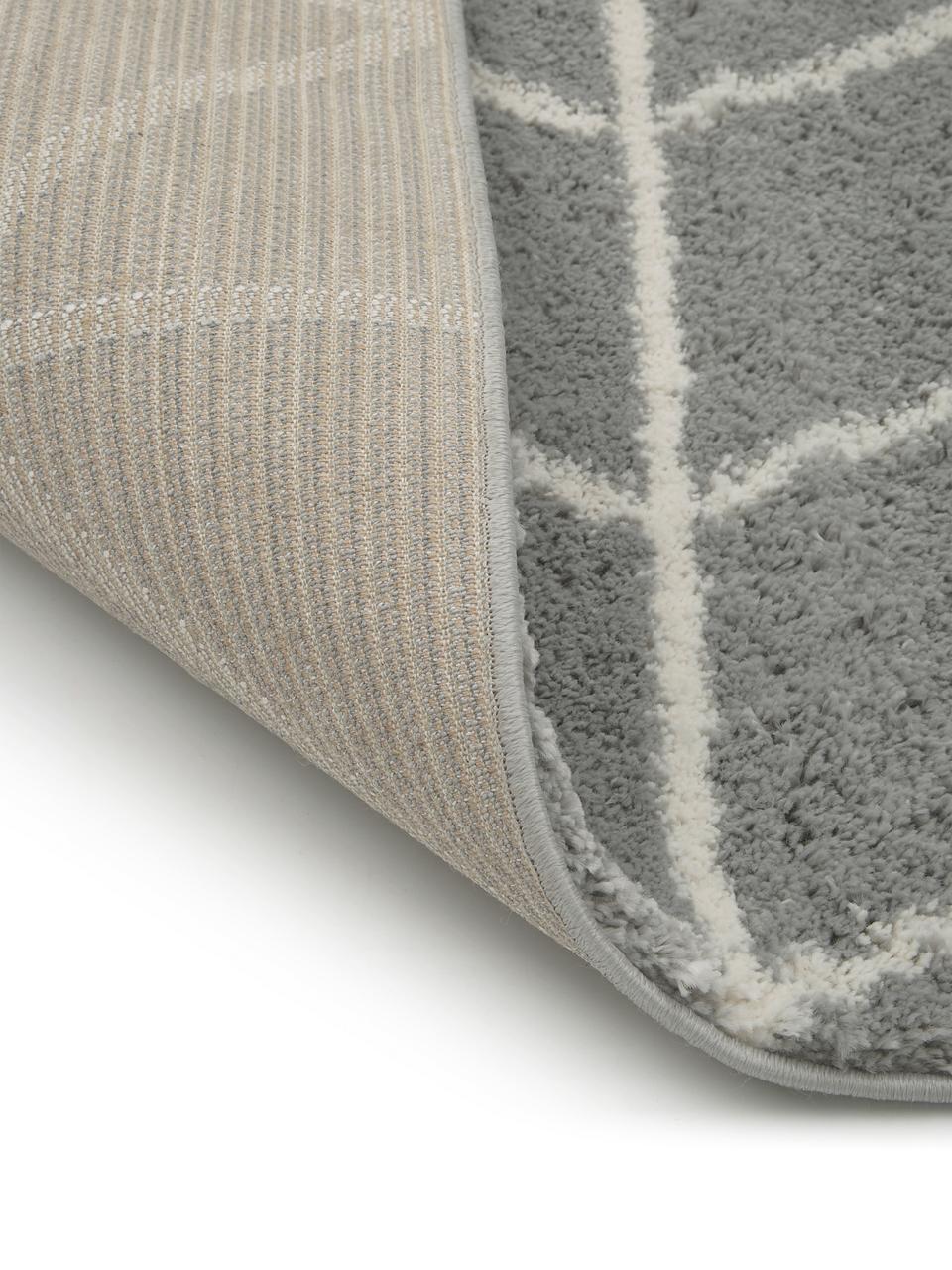 Flauschiger Hochflor-Läufer Cera in Grau/Cremeweiß, Flor: 100% Polypropylen, Grau, Cremeweiß, 80 x 250 cm