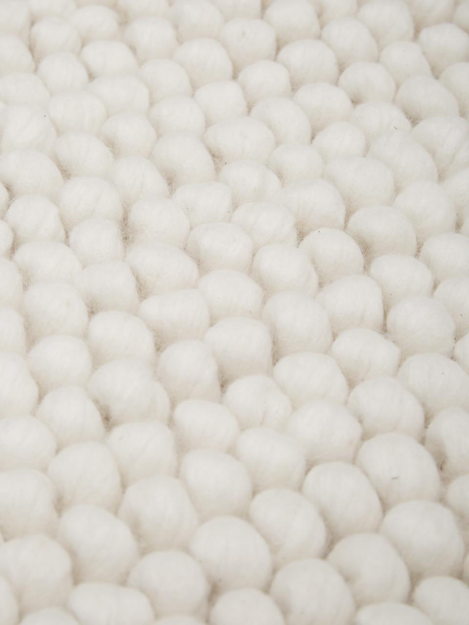Tappeto in lana color bianco crema Pebble, 80% lana della Nuova Zelanda, 20% nylon, Bianco, Larg. 80 x Lung. 150 cm (taglia XS)