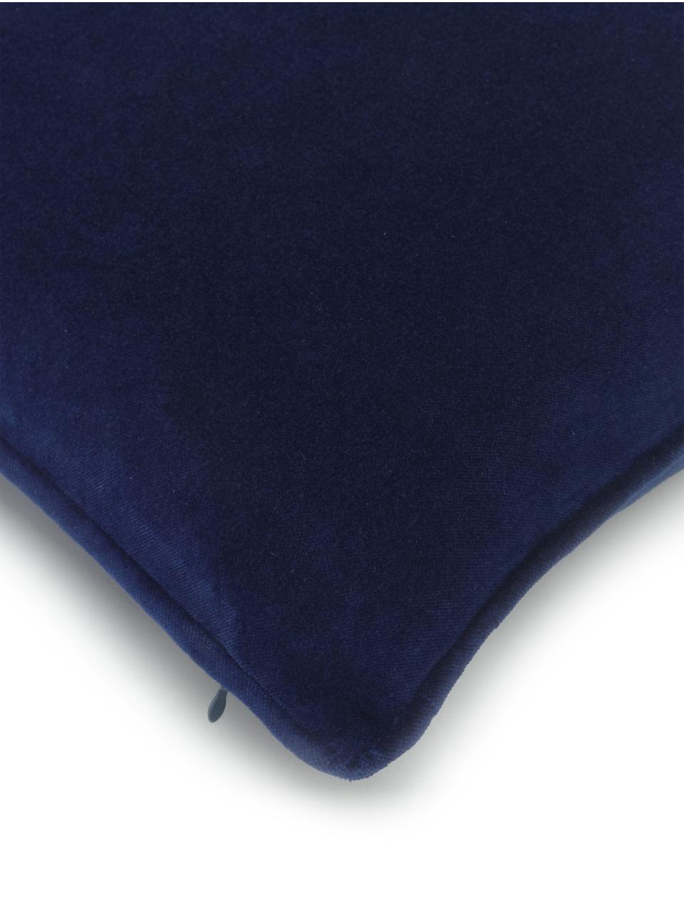 Einfarbige Samt-Kissenhülle Dana in Marineblau, 100% Baumwollsamt, Marineblau, 30 x 50 cm