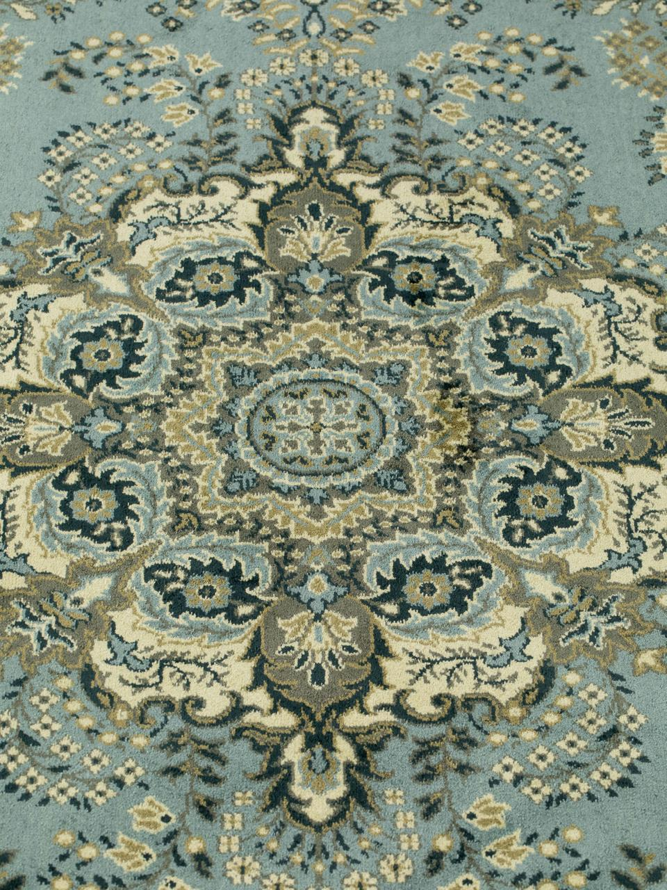 Runder Vintage-Teppich Bodega in Grün mit Fransen, Flor: 38%Rayon, 26%Baumwolle,, Grüntöne, Ø 175 cm (Größe L)