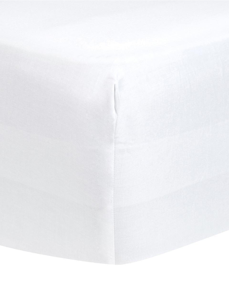 Prześcieradło z gumką na łóżko kontynentalne z satyny bawełnianej Comfort, Biały, S 200 x D 200 cm
