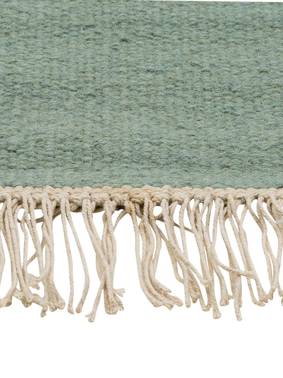 Tappeto in lana tessuto a mano con frange Rainbow, Frange: 100% cotone, Verde pistacchio, Larg. 140 x Lung. 200 cm (taglia S)