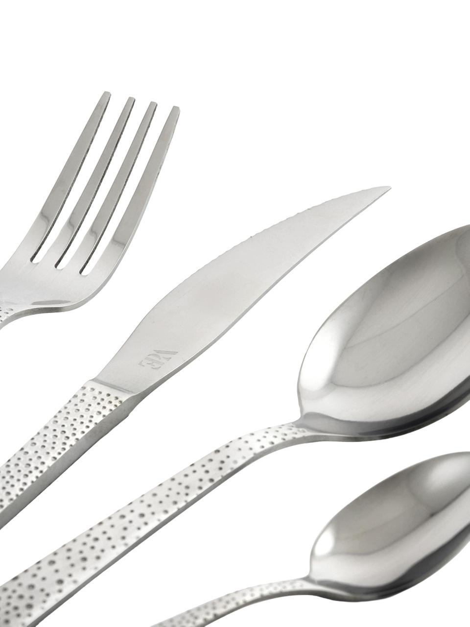 Set 24 posate argentate in acciaio inossidabile 18/10 per 6 persone Posate, Maniglia: acciaio inossidabile, mar, Acciaio inossidabile, Set in varie misure