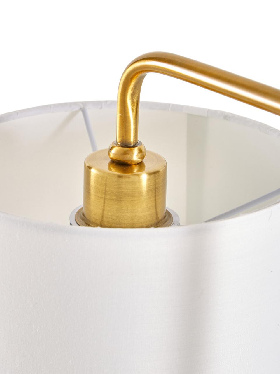 Tischlampe Montreal mit Marmorfuß, Lampenschirm: Textil, Lampenfuß: Marmor, Gestell: Metall, galvanisiert, Weiß, Goldfarben, Ø 20 x H 49 cm