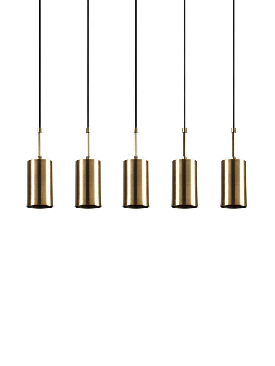 Lampada a sospensione Kem, Paralume: metallo rivestito, Baldacchino: metallo rivestito, Ottonato, nero, Larg. 78 x Alt. 120 cm