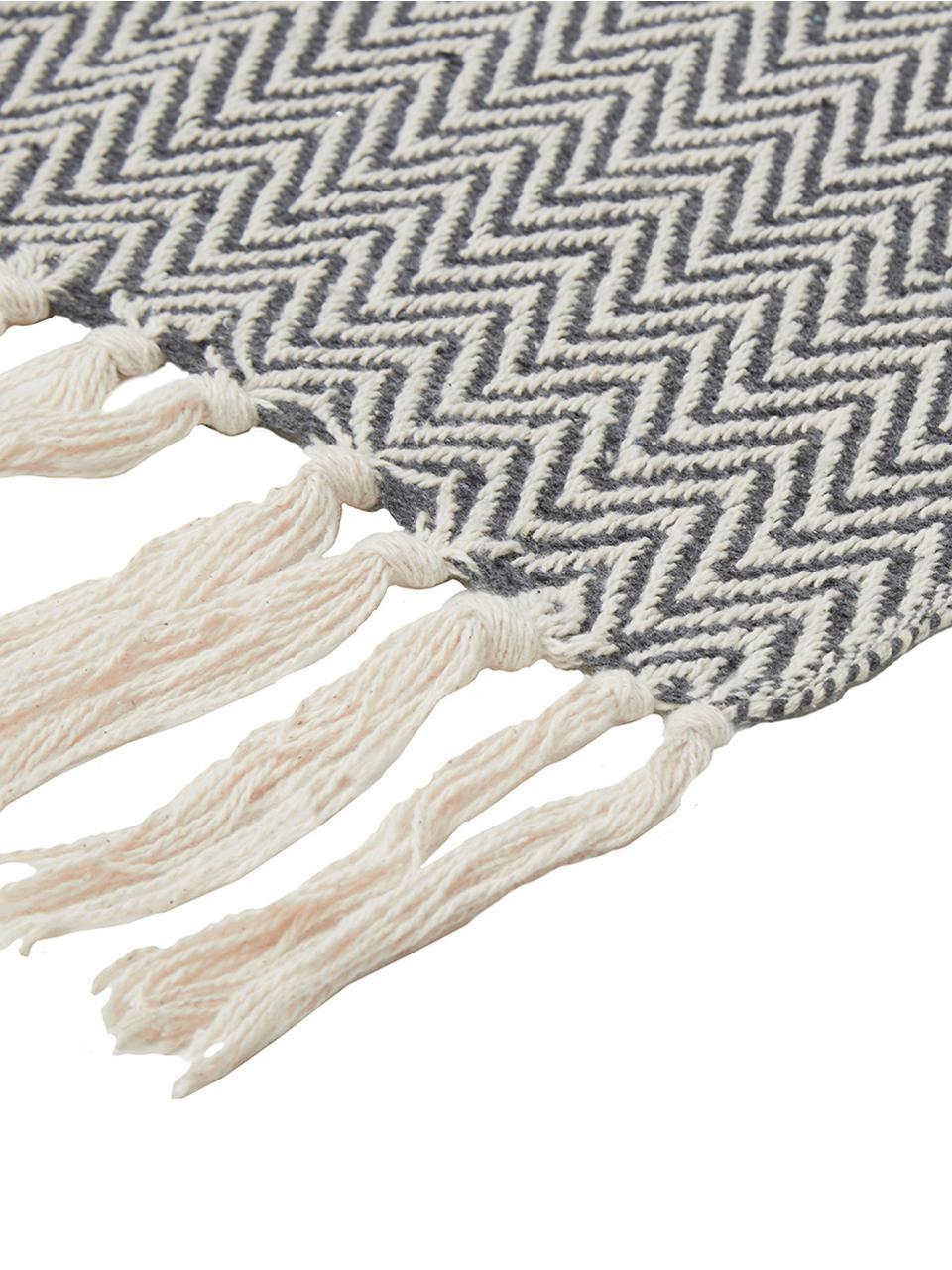 Baumwolldecke Zig mit feinem Zickzack-Muster, 100% Baumwolle, Grau, 130 x 170 cm