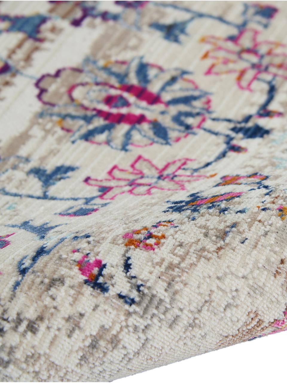 Niederflor-Läufer Kashan mit bunten Ornamenten, Flor: 100% Polypropylen, Beige, Mehrfarbig, 60 x 175 cm