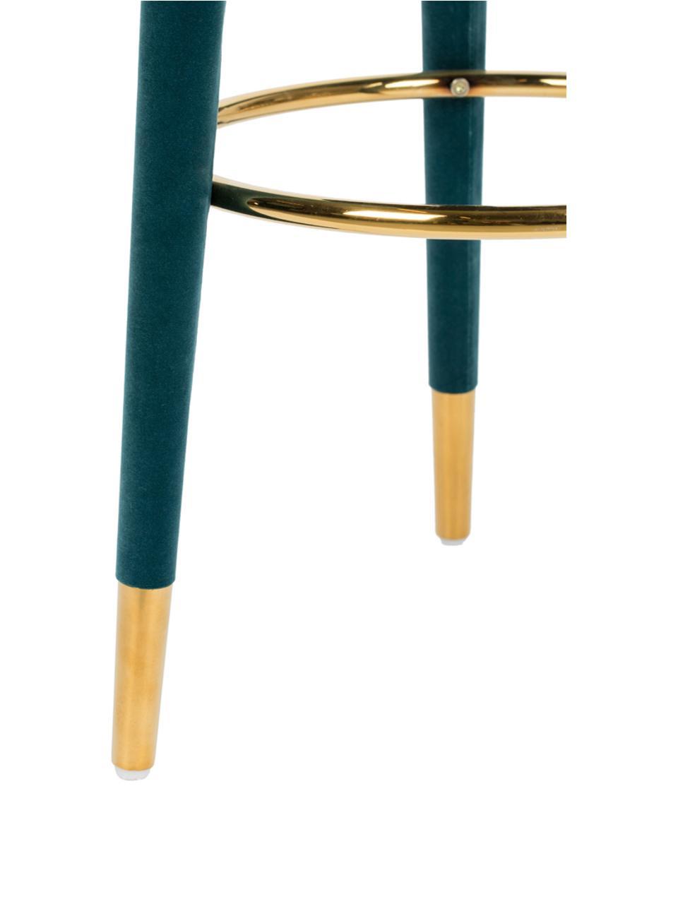 Samt-Barhocker I Am Not A Macaron, Bezug: Polyestersamt 30.000 Sche, Gestell: Gummibaumholz mit Samtübe, Blau, Ø 41 x H 78 cm
