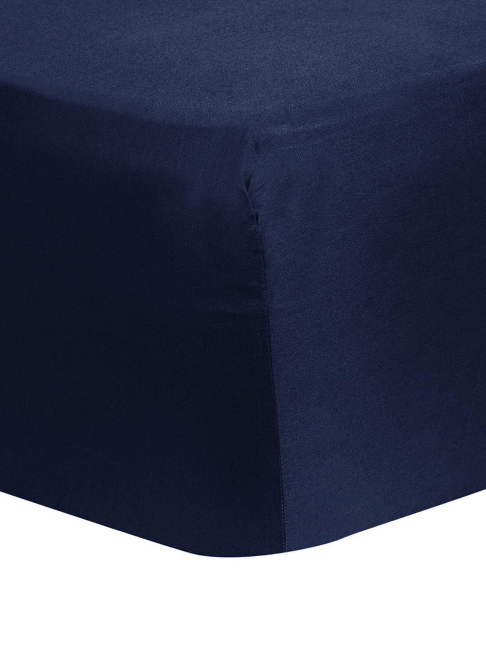 Drap-housse en satin de coton bleu foncé pour sommier tapissier Comfort, Bleu foncé