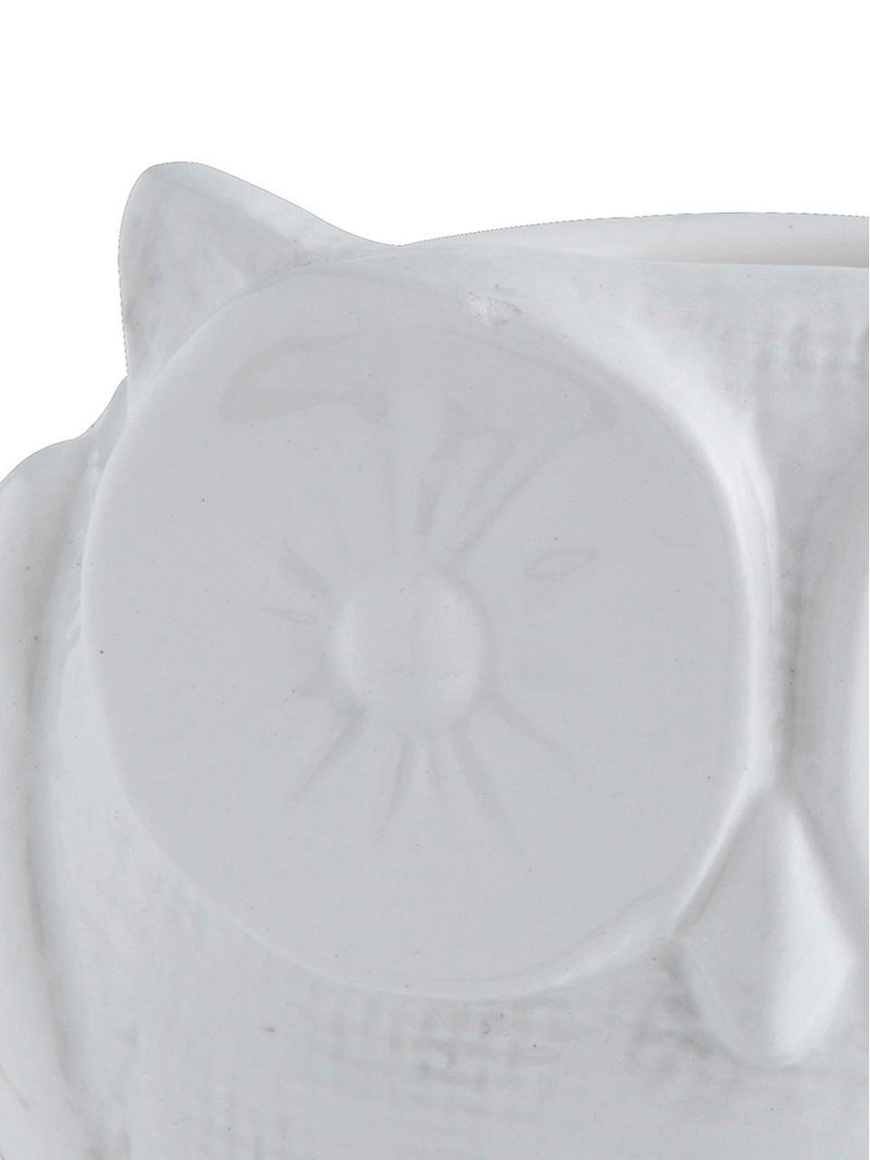 XS Übertopf Owl aus Dolomitstein, Dolomitstein, Weiß, Ø 11 x H 12 cm
