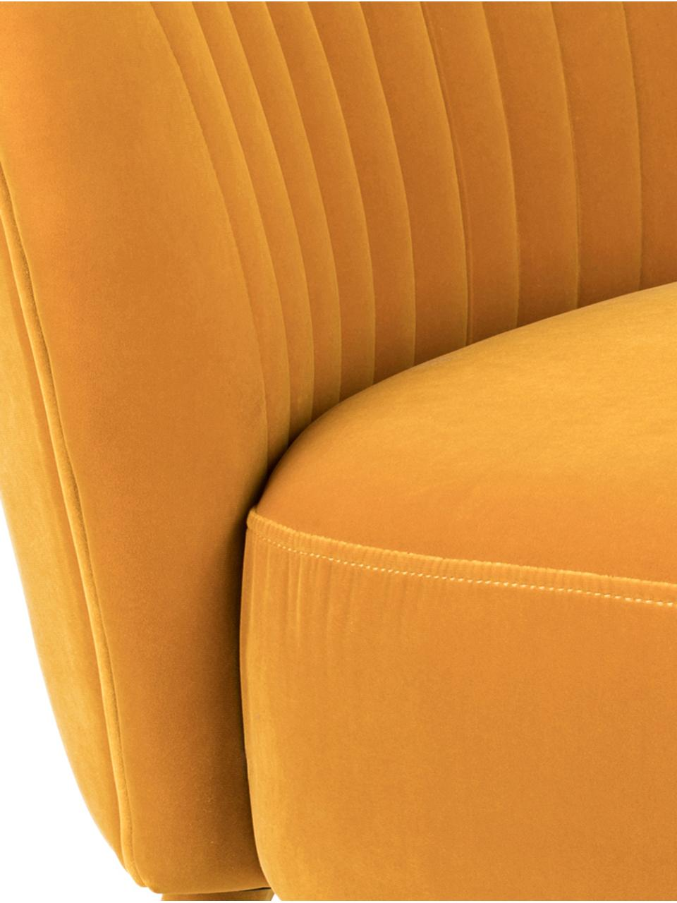 Fauteuil cocktail en velours jaune Well Dressed, Velours ocre