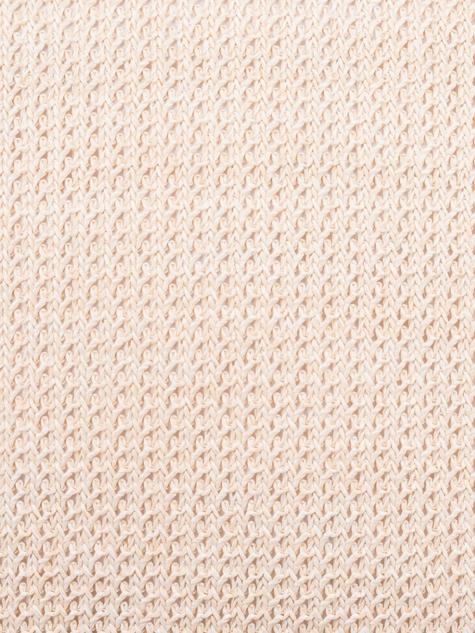 Kussenhoes Tally met juten bies, 50% jute, 50% katoen, Wit, beige, 45 x 45 cm