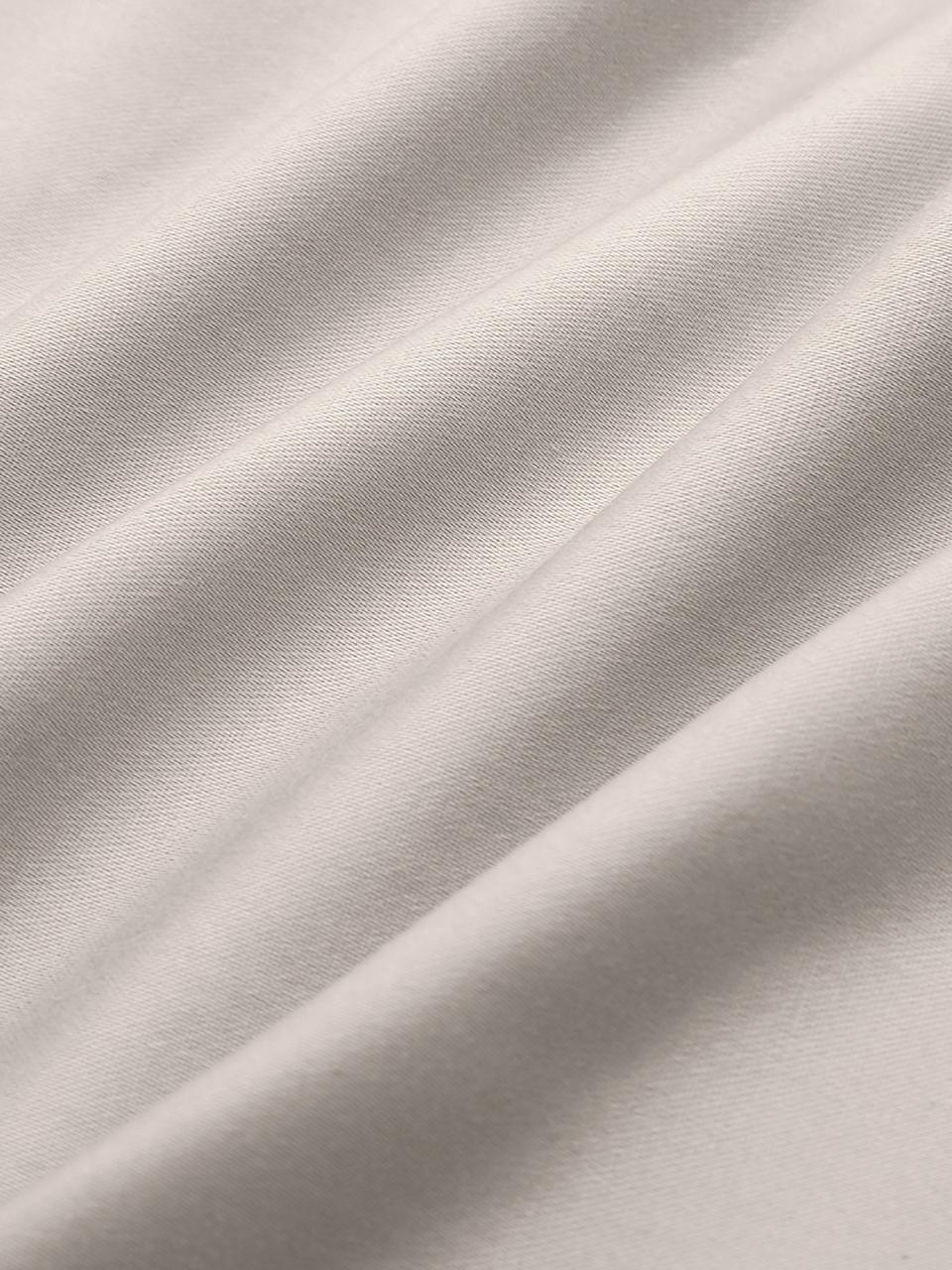 Pościel z satyny bawełnianej z lamówką Premium, Taupe, 135 x 200 cm + 1 poduszka 80 x 80