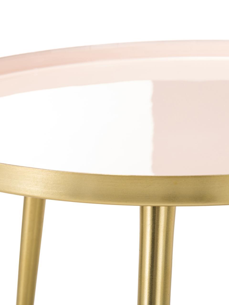 Runder Beistelltisch Amalia aus Metall, Tischplatte: , Oberseite: Metall, emailliert, Tischplatte: HellrosaTischbeine: Goldfarben, Ø 50 x H 42 cm