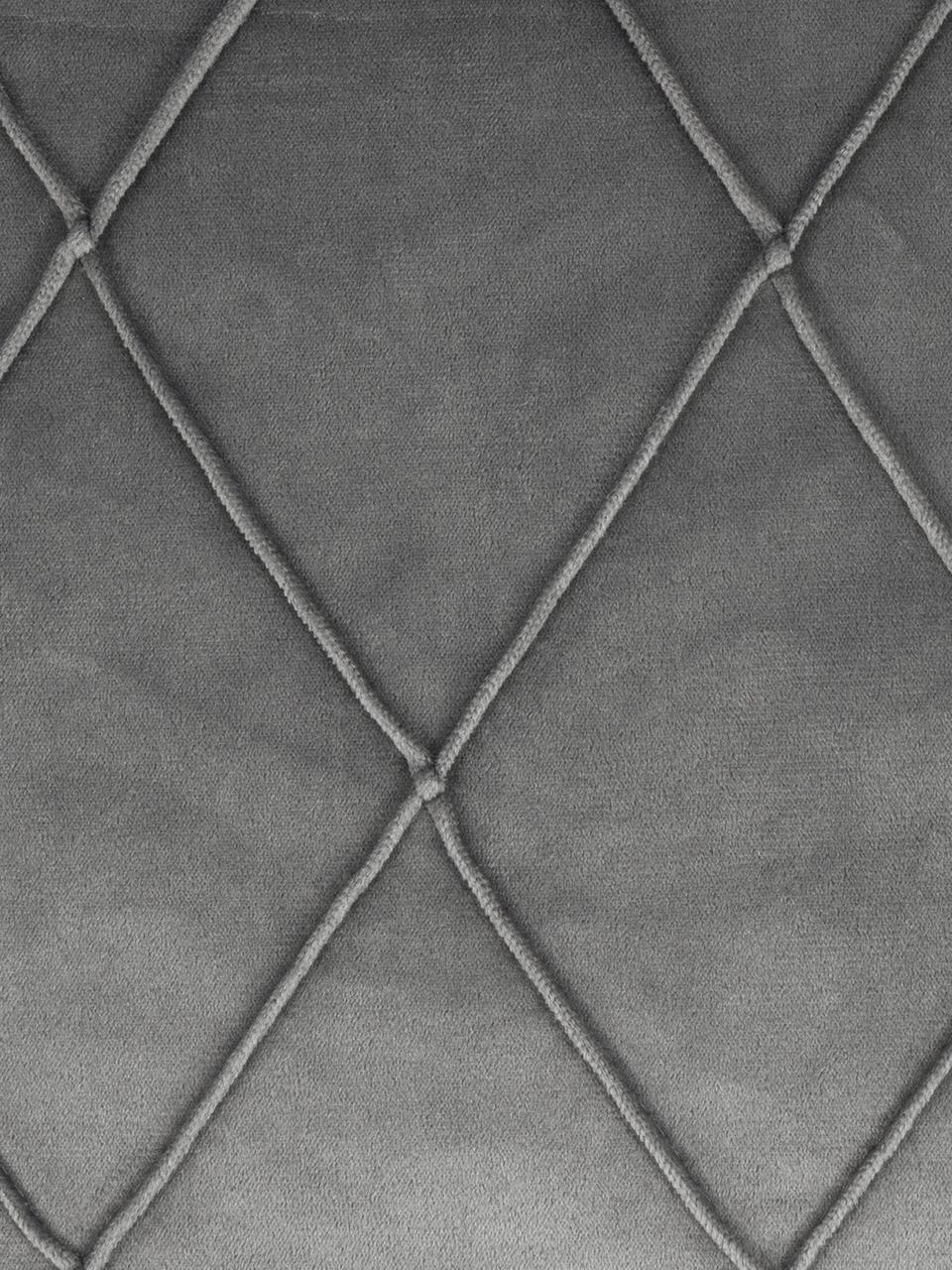 Federa arredo in velluto con motivo a rombi Nobless, 100% velluto di poliestere, Grigio, Larg. 50 x Lung. 50 cm